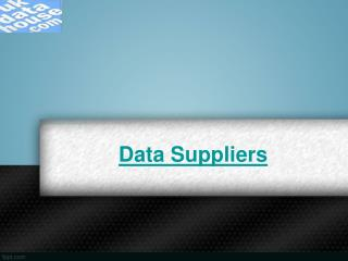 Data suppliers