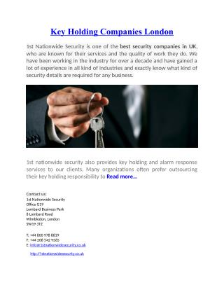key holding companies London