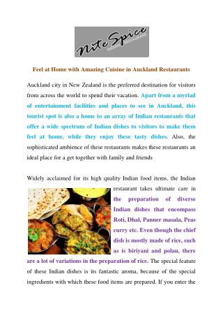 Feel at Home with Amazing Cuisine in Auckland Restaurants