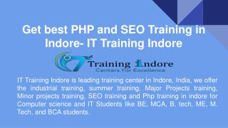 Get best PHP and SEO Training in Indore- IT Training Indore