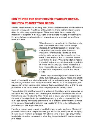 How to Find the Best Curved Stairlift Rental Solution to Meet Your Needs