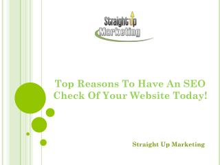 Top Reasons To Have An SEO Check Of Your Website Today!