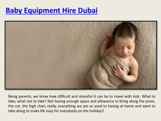 Baby Equipment Rentals