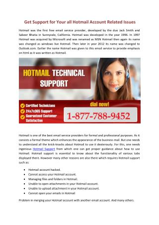 Get Support for your all Hotmail account related issue