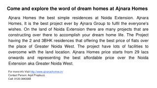 Come and explore the word of dream homes at Ajnara Homes