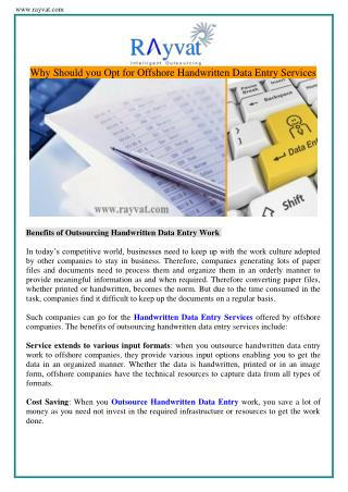 Benefits of Outsourcing Handwritten Data Entry Work