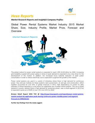 Power Rental Systems Market Analysis, Growth Trends, And Segment Forecasts, 2012 To 2020