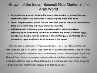 Growth of the Indian Basmati Rice Market in the Arab World