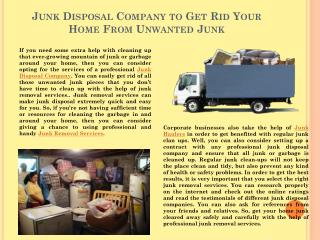 Junk Disposal Company To Get Rid Your Home From Unwanted Junk