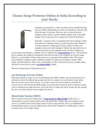 Choose Surge Protector Online in India According to your Needs