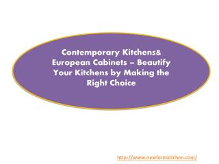 Contemporary Kitchens& European Cabinets – Beautify Your Kitchens by Making the Right Choice