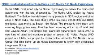 3BHK residential apartments in Rudra UNO Sector 150 Noida Expressway