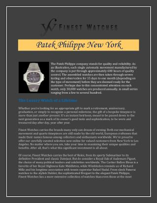 Patek Philippe New York