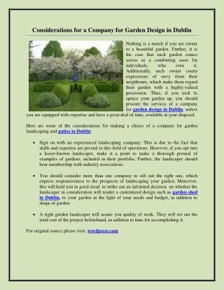 Considerations for a Company for Garden Design in Dublin