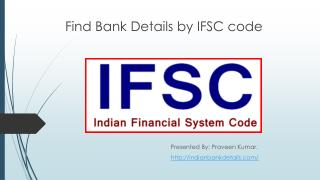 Find Bank Details by IFSC code