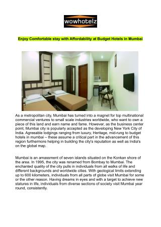 Budget Hotels in Mumbai