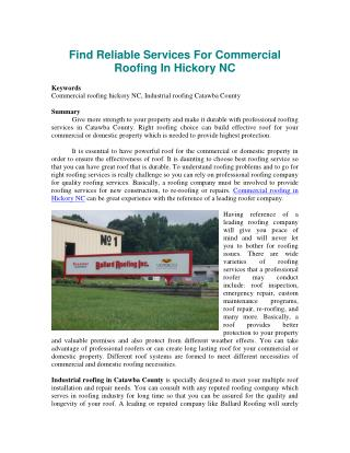 Find Reliable Services For Commercial Roofing In Hickory NC