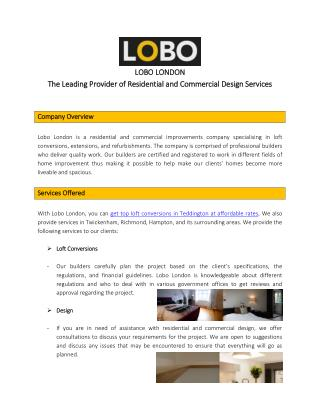 Lobo London: Your Go-to Provider for Your Residential and Commercial Design Needs