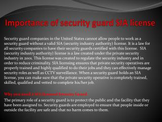 Importance of security guard SIA license