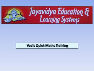 Vedic Quick Maths Training
