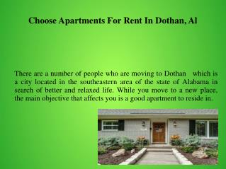 Choose Apartments For Rent In Dothan, Al