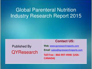 Global Parenteral Nutrition Market 2015 Industry Size, Research, Analysis, Applications, Development, Growth, Insights,