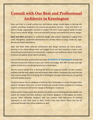 Consult with Our Best and Professional Architects in Kensington