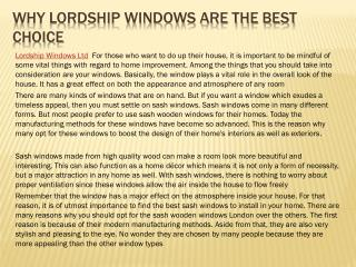Why Lordship Windows Are the Best Choice