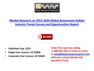 2015-2020 Global Ammonium Sulfate Industry Trends Survey and Opportunities