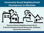 Community-Based Neighbourhood Development in Manitoba