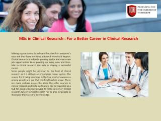 MSc in Clinical Research, Clinical Research Institute India