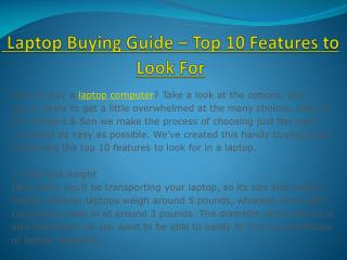 Laptop Buying Guide – Top 10 Features to Look For