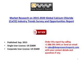 2015-2020 Global Calcium Chloride (CaCl2) Industry Trends Survey and Opportunities Report