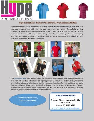 Hype Promotions - Custom Polo Shirts for Promotional Activities