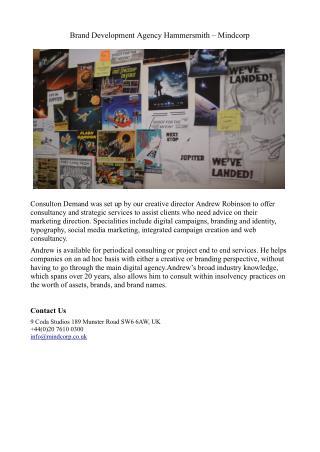 Brand Development Agency Hammersmith - Mindcorp