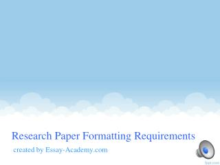 Research Paper Formatting Requirements