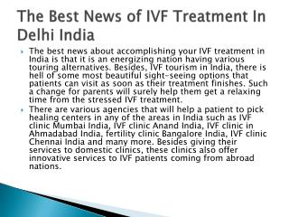 The Best News of IVF Treatment In Delhi India