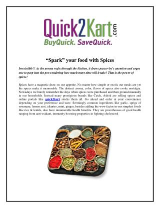 """Spark"" your food with Spices"