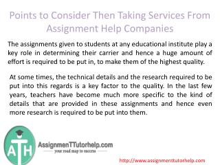 Points to Consider Then Taking Services From Assignment Help Companies