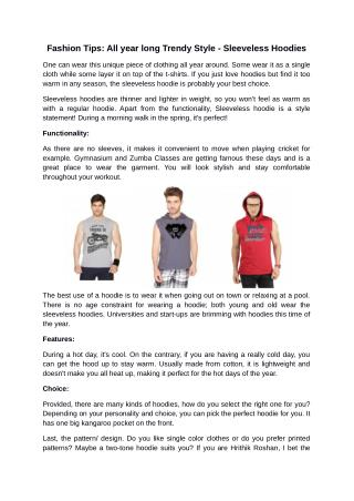 Fashion Tips: All year long Trendy Style - Sleeveless Hoodies