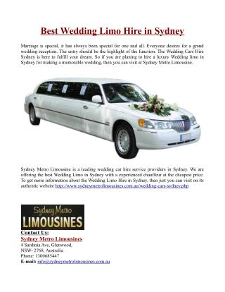 Best Wedding Limo Hire in Sydney