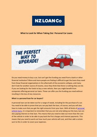 What to Look for When Taking Out  Personal Car Loans
