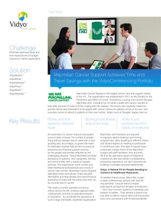 Macmillan Cancer Support Achieves Time and Travel Savings with VidyoConferencing