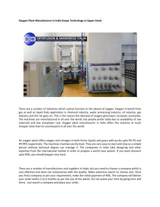 Latest Oxygen Plant Manufacturer India
