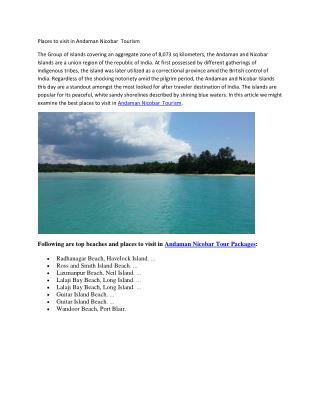 Places to Visit in Andaman Nicobar Tourism