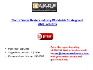 Global Electric Water Heaters Market Size, Growth, Trends and 2020 Forecasts
