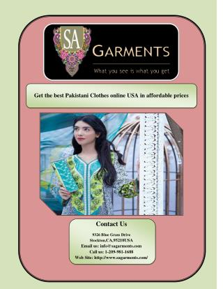 Get the best Pakistani Clothes online USA in affordable prices
