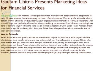 Gautam Chitnis Presents Marketing Ideas for Financial Services