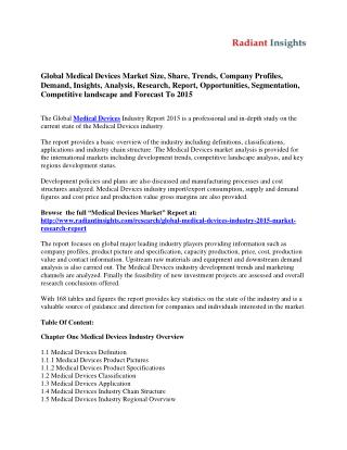 Global Medical Devices Market To Grow At A CAGR of 4.46% From 2014-2018