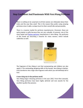 Stay Confident And Passionate With Vera Wang Perfume